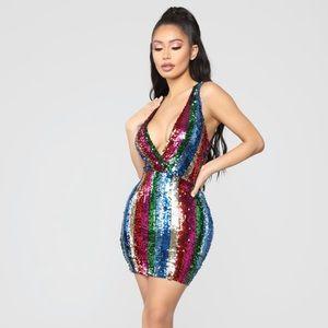 Fashion Nova Multi Color Stripe Sequin Dress NWT